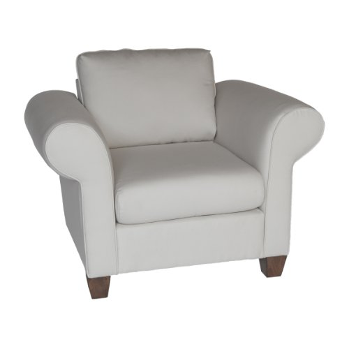 Carolina Cottage Tyler Upholstered Chair with Dream Woodsmoke Fabric and Bun Feet