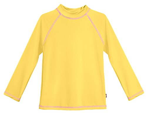 City Threads LS Little Girls' Rashguard Swimming Suit Swim Tshirt Tee UPF50+ Sun Protection for Beach Pool Summer Fun, LS Yellow/Pink, 5