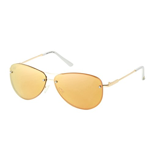 Eagle Eyes MIRA Aviator Sunglasses - Rose Gold Rimless Womens Sunglasses with Milky Rose - Discount Burberry Glasses