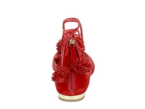 Donne Aquazzura Snhflaaa0suef00 Ballerine In Pelle Rossa
