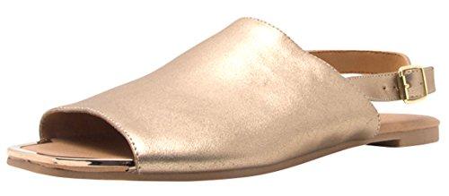 Cambridge Select Womens Open Toe Slingback Flat Sandal Gold TSQqADlA0