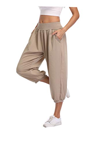 PEIQI Capri Crop Pants Comfy Loose Casual Pants Joggers Pants for Women Sweatpants Lounge Yoga Pants Relax Fit Khaki Medium
