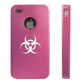 Apple iPhone 4 4S 4 Pink D3886 Aluminum & Silicone Case Cover Biohazard