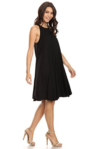 Trapeze Dress (A+D Womens Sexy Sleeveless Halter Black Trapeze Swing Tank Midi Dress (Black, Small))