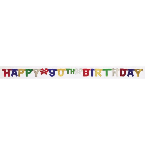 Creative Converting Party Decoration Jointed Banner, Happy 90th Birthday, -