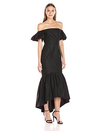 Jill Jill Stuart Women's Off Shoulder Hi Lo Dress, Black, (Silk Faille Strapless Dress)