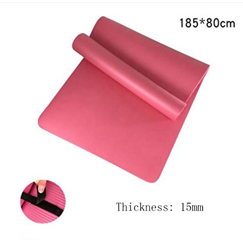 Mdck Yoga Pad,Fitness Mat 185cm Single Pad Yoga Mats Thickened 15mm Wide 80cm