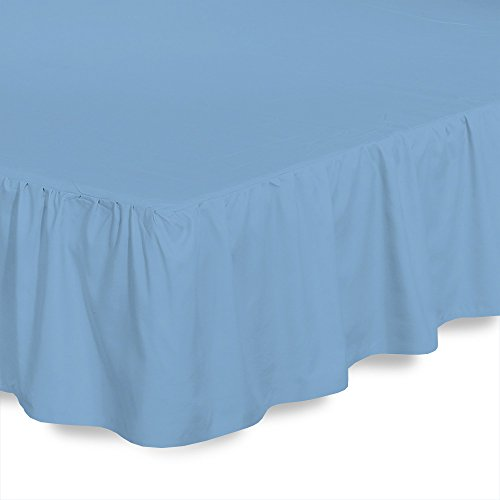 Gathered Blue (ARlinen Ruffled/Gathering Solid Bed Skirt Soft Brushed Microfiber Bed Wrap with Platform- Easy Fit Gathered Style 3 Sided Coverage Short Queen Size,Light Blue, for Natural Draping 12 Inch by)