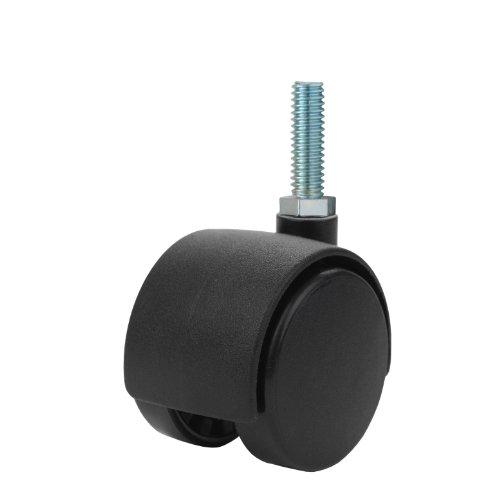 Twin-Wheel-Caster-Solutions-TWHN-40N-T17-BK-157-Diameter-Nylon-Wheel-Hooded-Non-Brake-Caster-38-16-Diameter-x-1-Length-Threaded-Stem-67-lb-Capacity-Range