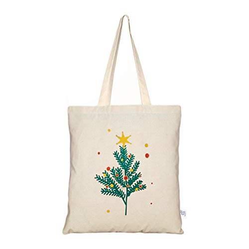 EcoRight Canvas Tote Bag for Women, Cute Bags for Girls | Eco Friendly Cotton Shopping Bags, Beach Bag, Bridesmaid Gifts | Kitchen Reusable Grocery Bags, Book Tote | Xmas Tree | 0101X36