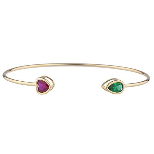 Heart Earring Created 5mm Ruby (Created Ruby Heart & Simulated Emerald Pear Bezel Bangle Bracelet 14Kt Yellow Gold Plated Over .925 Sterling Silver)