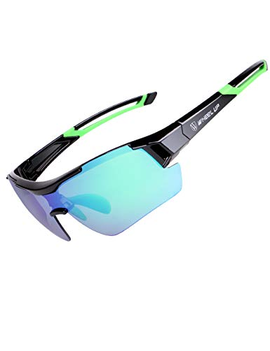 Menschwear Sunglasses for Cycling Polarized Clear & Low Light Lenses Included, for Running & Triathlons (Black-Green) ()