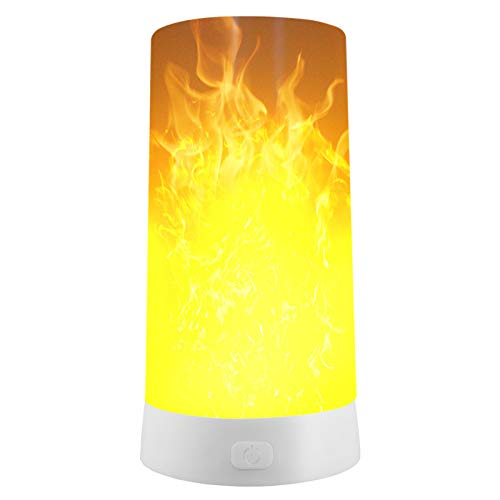 LED Flickering Flame Light Bulb, USB Rechargeable Table Lamp with Magnegic Base Waterproof Built-in Lithium Battery - Upside Down Effect - 200 Lumen - Flaming Fire Lights for Indoor/Outdoor