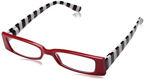 (Sight Station Women's Sherryn 1014308-100.COM Rectangular Reading Glasses, Red/Black Stripes, 1)