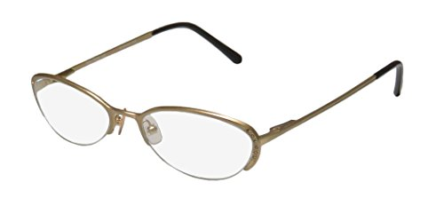 Vera Wang Epiphany Ii Womens/Ladies Designer Half-rim Titanium Crystals Spring Hinges Eyeglasses/Eye Glasses (50-17-135, Yellow Gold)