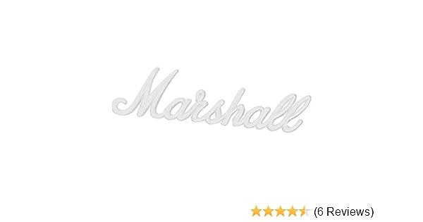"""MARSHALL ORIGINAL 6/"""" WHITE PLASTIC SCRIPT AMPLIFIER SPEAKER CABINET LOGO *NEW*"""