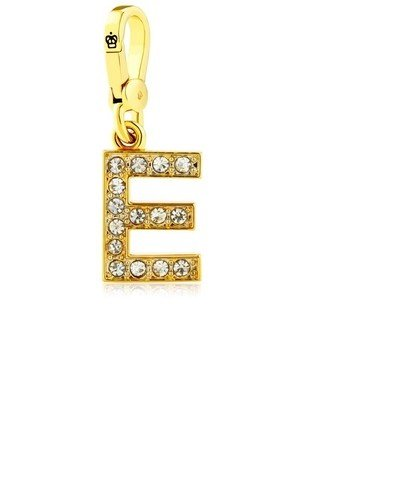 Juicy Couture Initial Letter Charm, Gold with Rhinestones in Gift Box (