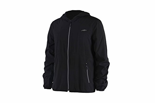 Trailside Supply Co. Men's Long Sleeve Athletic Hooded Jacket for Sports Running Travelling,Black,2XL