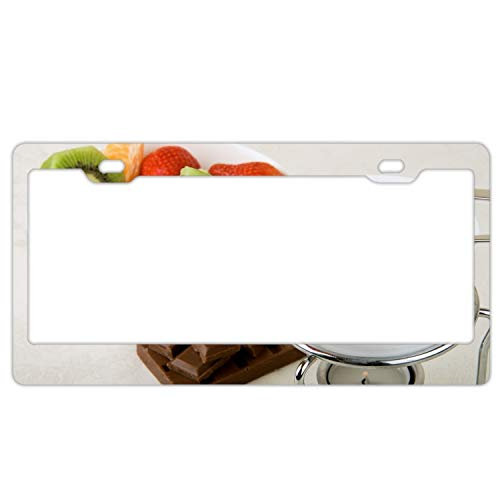 Car License Plate Frame - Chocolate Fondue Fruit Kiwi Strawberry Alumina License Plate Covers