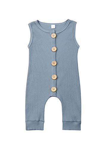 VISGOGO Newborn Baby Girls Boys Kid Solid Colour Bodysuit Sleeveless Romper Jumpsuit + Headband 2PCS Clothes Sets (A-Blue 2, 12-18 Months) -