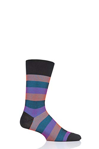 Pantherella Mens Stirling Shadow Rib Stripe Cotton Socks Pack of 1 Charcoal ()