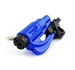 New Kit Resqme Seatbelt Cutter Emergency Survival Window Glass Breaker Keychain Tool Blue