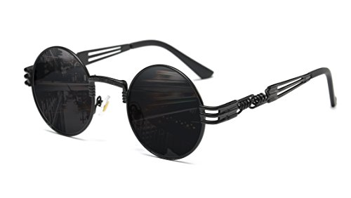GAMT Fashion Classic Steampunk Round Sunglasses Metal Frame for Men and Women Black Frame Grey - Frames Glasses Steampunk