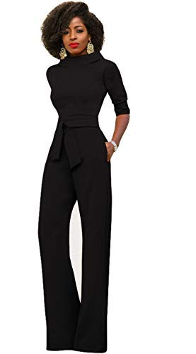 ce874a2da90 Tempt Me Women Elegant High Waist Jumpsuits Stand Collar Half Sleeve Wide  Leg Long Pants Rompers Club Cocktail Party Playsuit with Belt   Amazon.co.uk  ...