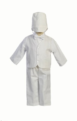 Cotton-Poly Embroidered Christening Jacket and Pant Set