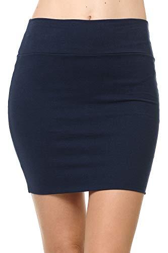 Fashion Aktiv Basic Double-Layer Cotton Simple Stretchy Tube Pencil Mini Skirt (Large, Navy)