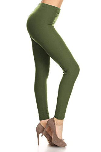 LDR128-Olive Basic Solid Leggings, One Size ()