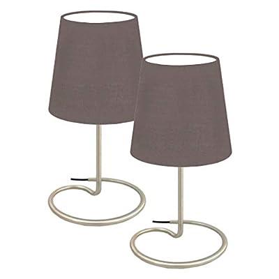 Trango 2 pacchi Lampada da tavolo design, lampada da comodino, lampada da tavolo, lampada con paralume in tessuto