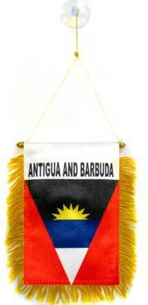 AZ FLAG Antigua and Barbuda Mini Banner 6'' x 4'' - Antiguan Barbudan Pennant 15 x 10 cm - Mini Banners 4x6 inch Suction Cup ()