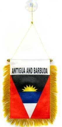 AZ FLAG Antigua Barbuda Mini Banner 6'' x 4'' - Antiguan Barbudan Pennant 15 x 10 cm - Mini Banners 4x6 inch Suction Cup ()