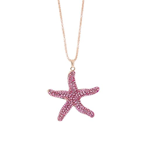 Chrikathy Women Nautical Sparkling Light Pink Starfish Crystal Rhinestone Pendant Sweater Necklace (Real Pearl Bracelet Pink Necklace)