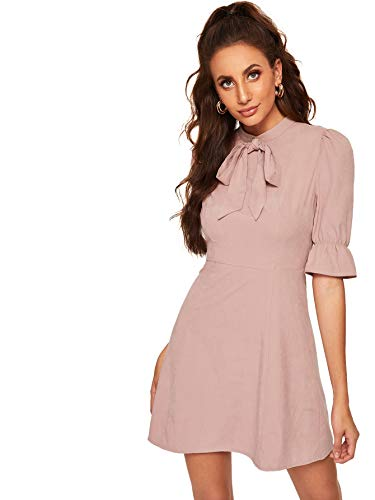(DIDK Women's Ruffle Trim Bow Front Fit and Flare Dress Pink XS)
