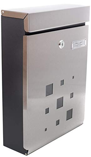 (PEELCO Modern Stainless Steel Mailbox - Vertical Wall Mount - Powder Coated Galvanized - Weather Proof - Lockable w/Spare Keys (Stainless Steel w/Black Trim))