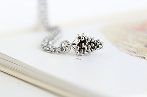 Pine Cone Charm Necklace 20 Inch Sterling Silver Chain