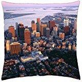 Aerial View of Downtown Boston Massachusetts - Throw Pillow Cover Case - Massachusetts Boston Downtown