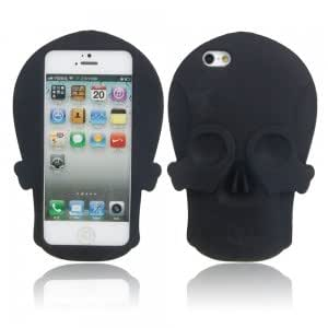Skull Pattern Silicone Protective Case for iPhone 5/5S Black