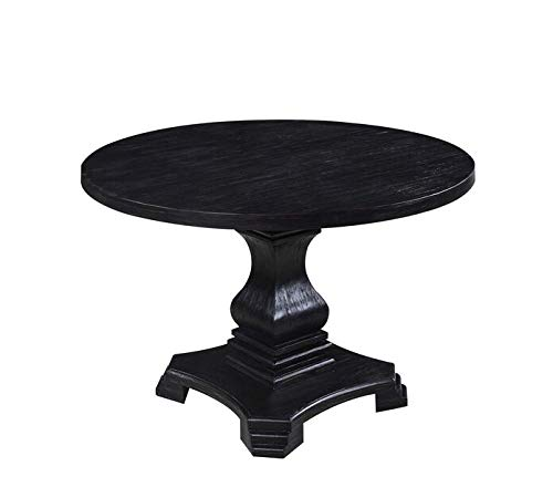 Dayton Round Dining Table Antique Black Birch Dining Room Pedestal