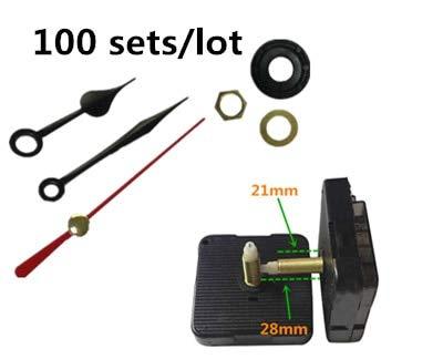 Maslin 100 Sets Black Heart Hands Quartz Wall Clock Movement Mechanism Parts Repair Replacing DIY Essential Tools Silent 28mm Shaft