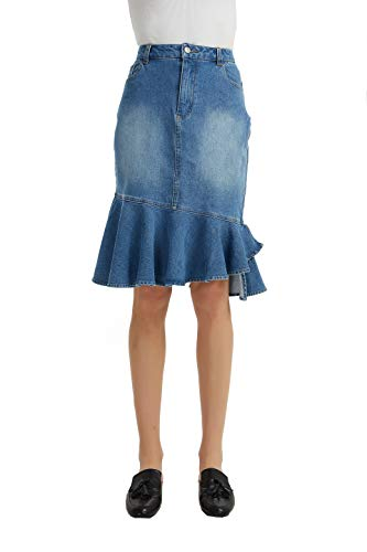 Tronjori Womens Casual Stretched Denim Fishtail Midi Skirt(L,Blue)