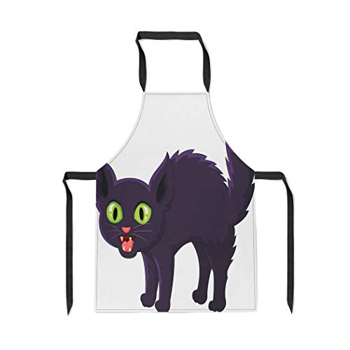 Pinbeam Apron Scared Frightened Cartoon Black Cat Halloween Angry Scary with Adjustable Neck for Cooking Baking Garden ()