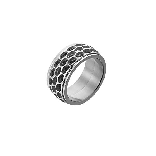 ZOBDX Sterling Silver Spinner Ring Band for Men and Women Handmade Unique Thumb Ring Natural Open Honeycomb Bee Jewelry (Silver, 11) ()