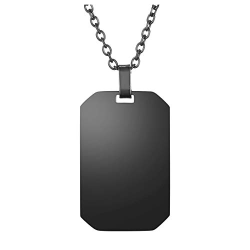 Jovivi Black Stainless Steel Plain Dog Tag Pendant Necklace with 24 inch Chain, Gift for Dad Husband