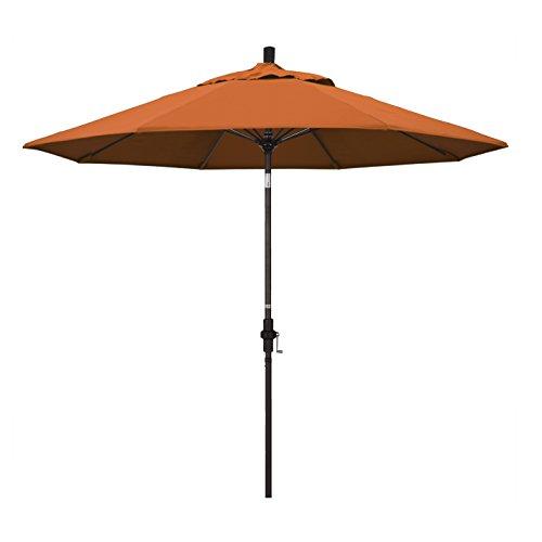 California Umbrella 9' Round Aluminum Pole Fiberglass Rib Market Umbrella, Crank Lift, Collar Tilt, Bronze Pole, Pacifica Tuscan (Umbrella Collar Tilt Patio)