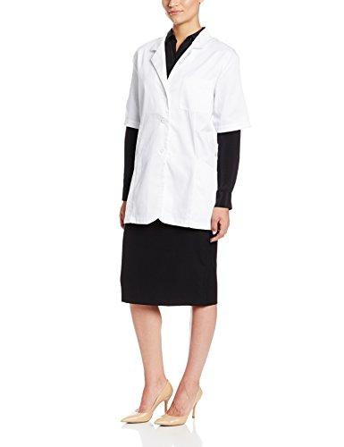 - Worklon 105L Polyester/Cotton Ladies Short Sleeve Pharmacy Lab Coat with Button Front Closure, Large, White
