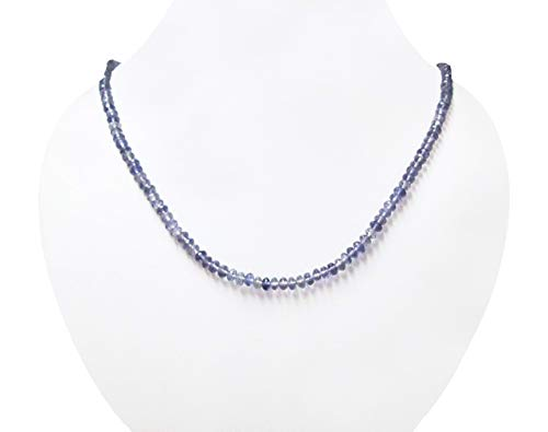- Natural Blue Iolite Rondelle Beads Necklace Strand with Sterling Silver Findings 16