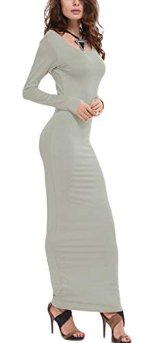 Long Fall Neck O Fit Hip Maxi Cromoncent Package Womens Gray Sleeve Slim Dress T1wqTxI5